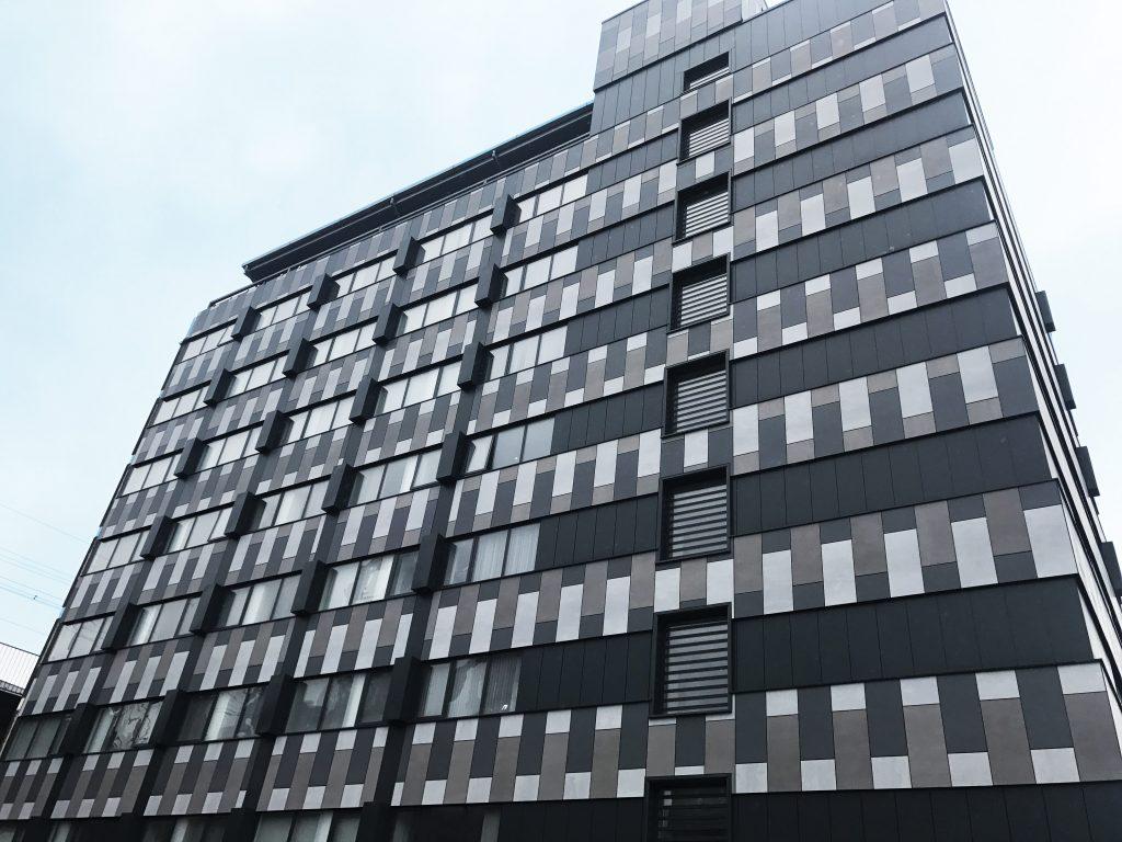 Dark charcoal building