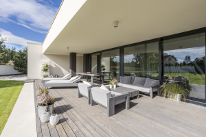 Beautiful exterior view of glass doors and decking